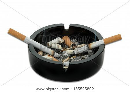 Burning cigarettes in an ashtray isolated on a white background