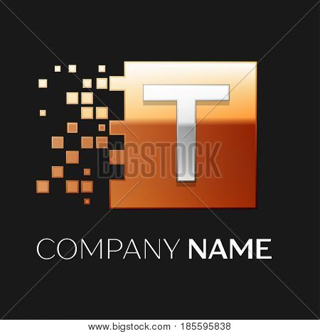 Letter T vector logo symbol in the colorful square with shattered blocks on black background. Vector template for your design