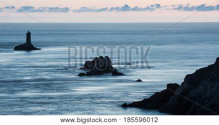 Lighthouse On Cape Sizun, Pointe Du Raz. Brittany, France