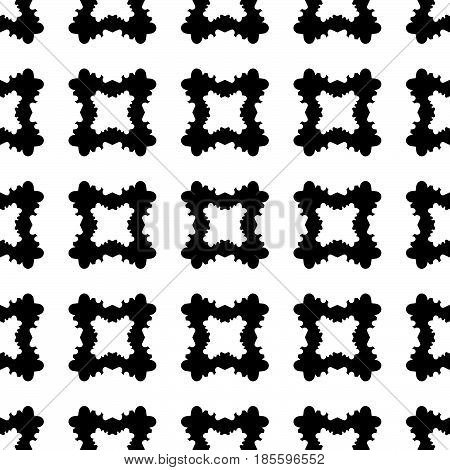 Geometric seamless pattern, abstract monochrome texture with black & white smooth carved quadrangles. Simple old style vector background. Design for print, decor, tablecloth, textile, cloth, furniture