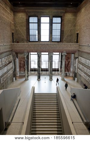 BERLIN GERMANY - APRIL 7: Interior of Neues museum on April 7 2017 in Berlin