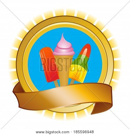 Ice Cream and Ice Lollies Over Golden Rounded Shield with Blank Banner