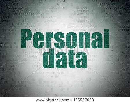 Data concept: Painted green word Personal Data on Digital Data Paper background