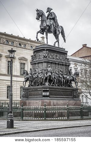 BERLIN GERMANY - APRIL 7: Equestrian statue of king Frederick the Great at the east end of Unter den Linden on April 7 2017 in Berlin