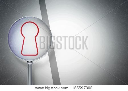 Information concept: magnifying optical glass with Keyhole icon on digital background, empty copyspace for card, text, advertising, 3D rendering