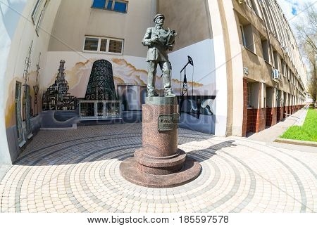 Samara Russia - May 6 2017: Monument to Russian engineer near a technical university in Samara Russia