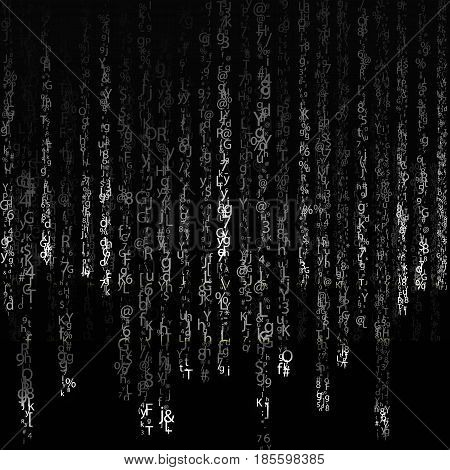 Background in matrix style. Drop random characters in black and white. Vector illustration