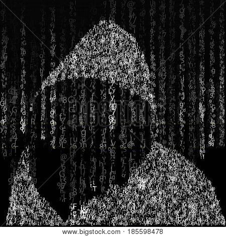 Background in matrix style. Drop random characters in black and white. On the background of a hacker in the hood of characters. illustration
