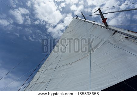 White main sail against blue sea with clouds