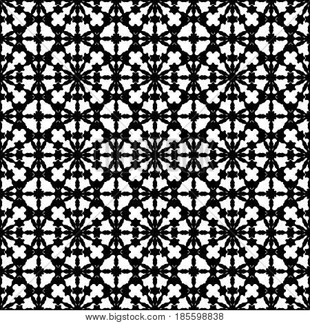 Vector monochrome texture, abstract black & white specular ornament. Illustration of lattice in oriental style, repeat tiles. Smooth geometric seamless pattern. Design element for prints, decor, cover