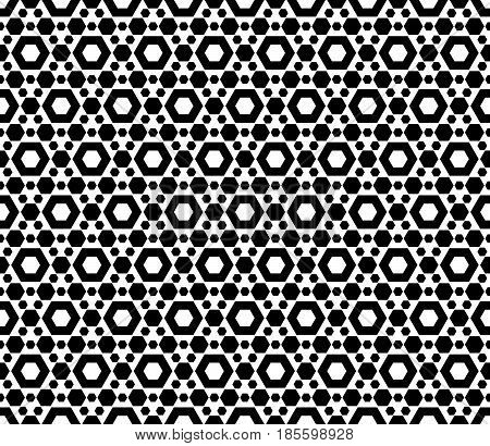 Vector monochrome seamless pattern, repeat geometric texture, black & white hexagonal grid, abstract modern pattern. Stylish background with simple figures, hexagons. Design for prints, decoration