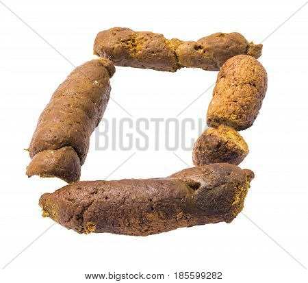 Cat poop isolated on white background in form of O character