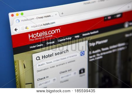 LONDON UK - APRIL 15TH 2017: The homepage of the official website for Hotels.com a site for booking hotel rooms online on 15th April 2017.