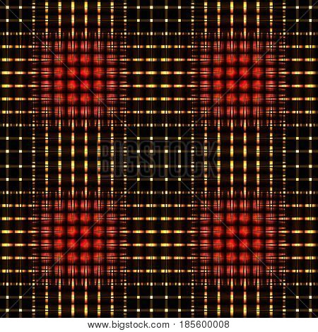 Seamless pattern with luminous red gold geometric elements into square repeat sections. Vector pattern for design banners brochures and cards