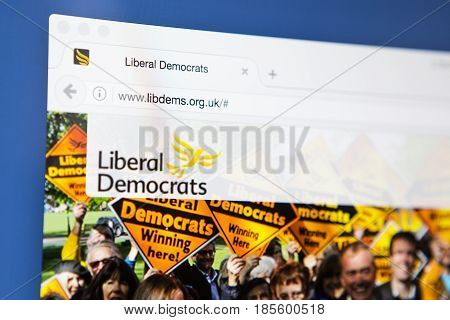 LONDON UK - APRIL 20TH 2017: The homepage of the official website for the Liberal Democrats on 20th April 2017.
