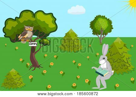 An owl and a hare with books in a library in a forest clearing, vector illustration