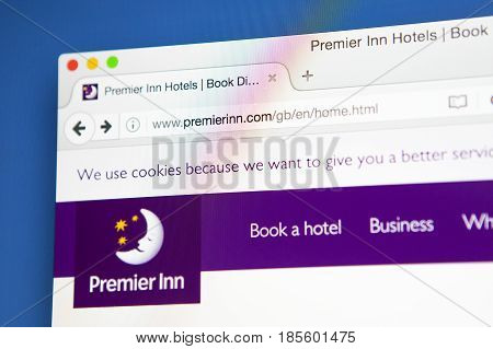 LONDON UK - APRIL 20TH 2017: The homepage of the official website for the Premier Inn brand of hotels on 20th April 2017.
