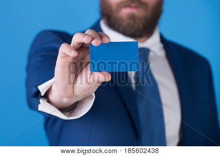 Business Card In Hand Of Man Or Lawyer