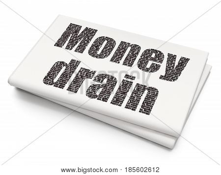 Banking concept: Pixelated black text Money Drain on Blank Newspaper background, 3D rendering