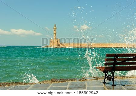 clear turqiouse water of Chania habou Crete