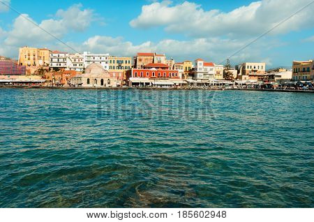 clear turqiouse water of Chania habou Crete Greece