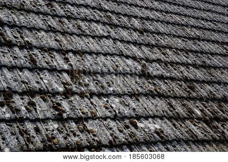Close up of aged roofing tiles on old house in village. A lot of moss on tiled roof of hovel. Countryside scene