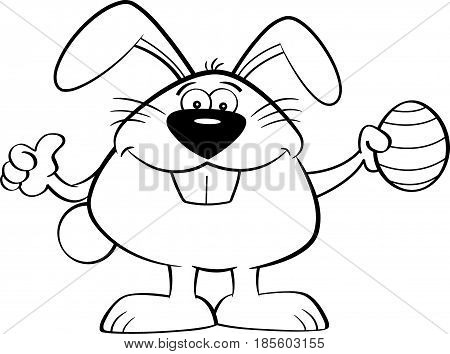 Black and white illustration of the Easter bunny holding an Easter egg and giving thumbs up.