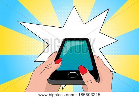 Black phone in hands. Smartphone pop art vector illustration. Modern cellphone with empty screen. Touchscreen phone in woman hands. Black phone with flash banner template. Internet connection concept