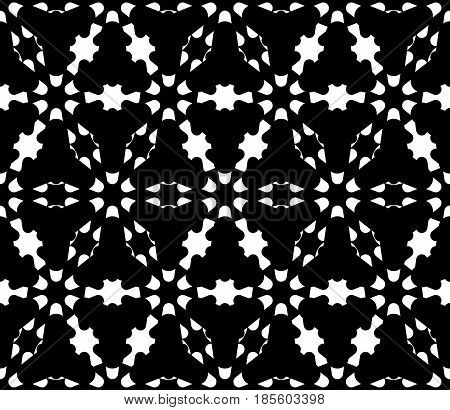 Vector monochrome texture, dark geometric seamless pattern. Illustration of barbed wire, triangular grid, carved shapes. Abstract floral figures. Design for decor, tileable print, furniture, fabric