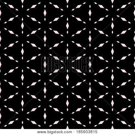 Subtle geometric texture, vector seamless pattern. Modern minimalist monochrome background with simple shapes, rhombuses, snowflakes, triangular grid, repeat tiles. Dark design for decor, digital, web