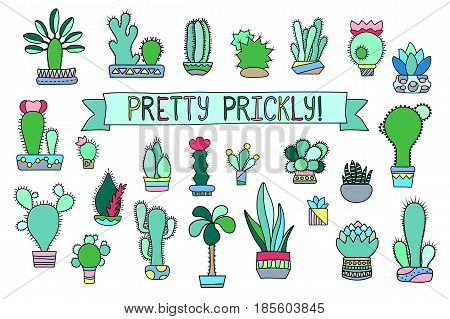 Doodle cactus and succulent vector clipart. Potted cactus and succulents icons. Mexican cactus logo. Hand-drawn cacti illustration isolated on white. Succulent decor sticker. Trendy hipster houseplant