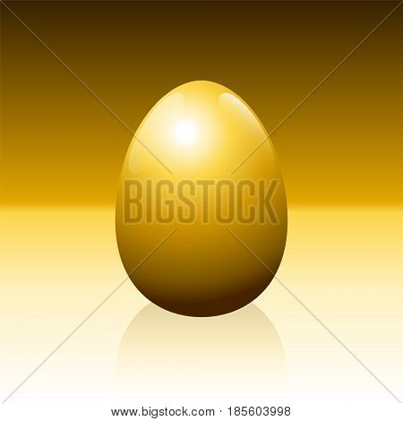 Golden egg on golden background - idiom for success, profit, wealth, financial luck or any other lucrative business issues - isolated vector illustration.
