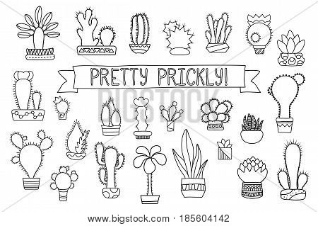 Thin line cactus and succulent vector clipart. Potted cactus and succulents icons. Cactus coloring page. Hand-drawn cacti illustration isolated on white. Succulent line art logo. Hipster houseplant poster