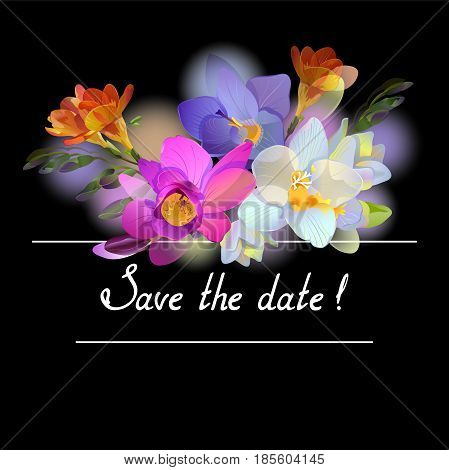 Vector black square composition with gentle bright freesia flowers and invitation text Save the date.