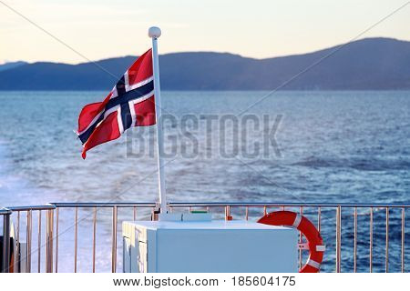 Flag Of Norway Mounted On Stern Railings