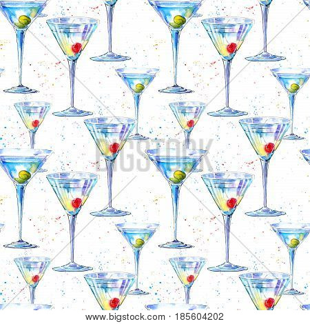 Seamless pattern of a Martini with olive and cherry. Painting of a alcohol drink and splash .Watercolor hand drawn illustration.White background.