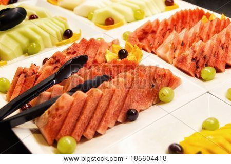 Fruits on plates for dessert