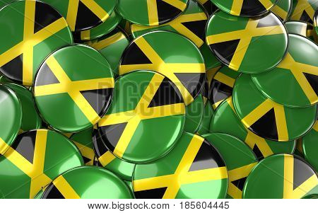 Jamaica Badges Background - Pile Of Jamaican Flag Buttons.