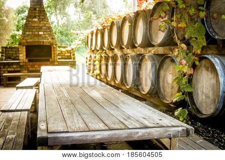 wine wooden barrels at winery