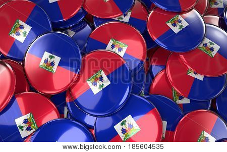 Haiti Badges Background - Pile Of Haitian Flag Buttons.