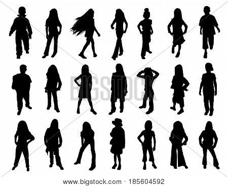 Kids models at fashion show. Twenty one silhouettes. Isolated white background. EPS file available.