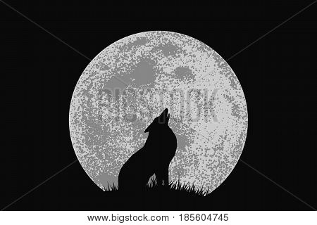 wolf on mountain howling to full moon .Vector illustration