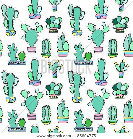 Mint cactus vector seamless pattern on white background. House plants pattern tile. Cacti flowerpot pattern for textile or wrapping paper. Trendy hipster cactus doodle background. Succulent texture