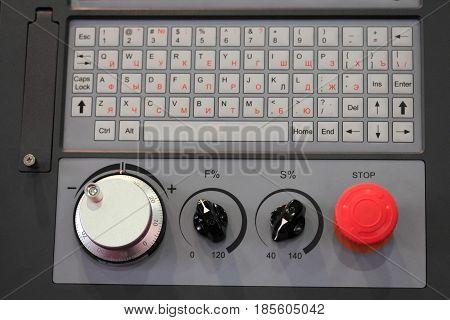Control panel of cnc machine. Selective focus.