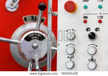 Close up of lathe control panel. Selective focus.
