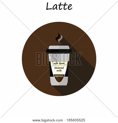 latte cup vector. Coffee latte illustration. Coffee latte in flat style