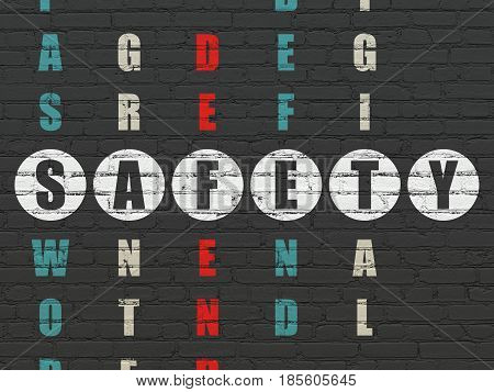 Safety concept: Painted white word Safety in solving Crossword Puzzle