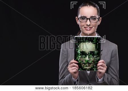 Woman in face recognition concept