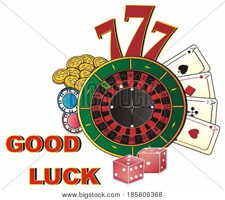 words good luck with many signs of casino