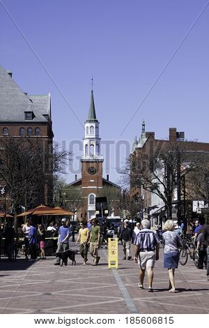 Burlington, Vermont - May 1, 2014 - Vertical of the crowds of people on the main street of the
